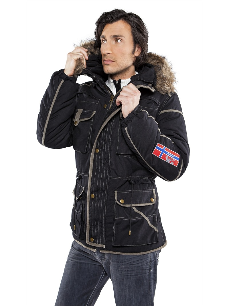 nebulus winter jacket parka gstaad l fur collar mens black jacket ebay. Black Bedroom Furniture Sets. Home Design Ideas