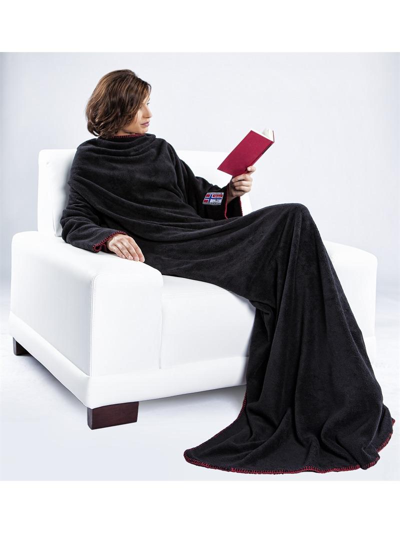 nebulus decke mit rmeln 150 x 200 cm fleecedecke schwarz extra gro ebay. Black Bedroom Furniture Sets. Home Design Ideas