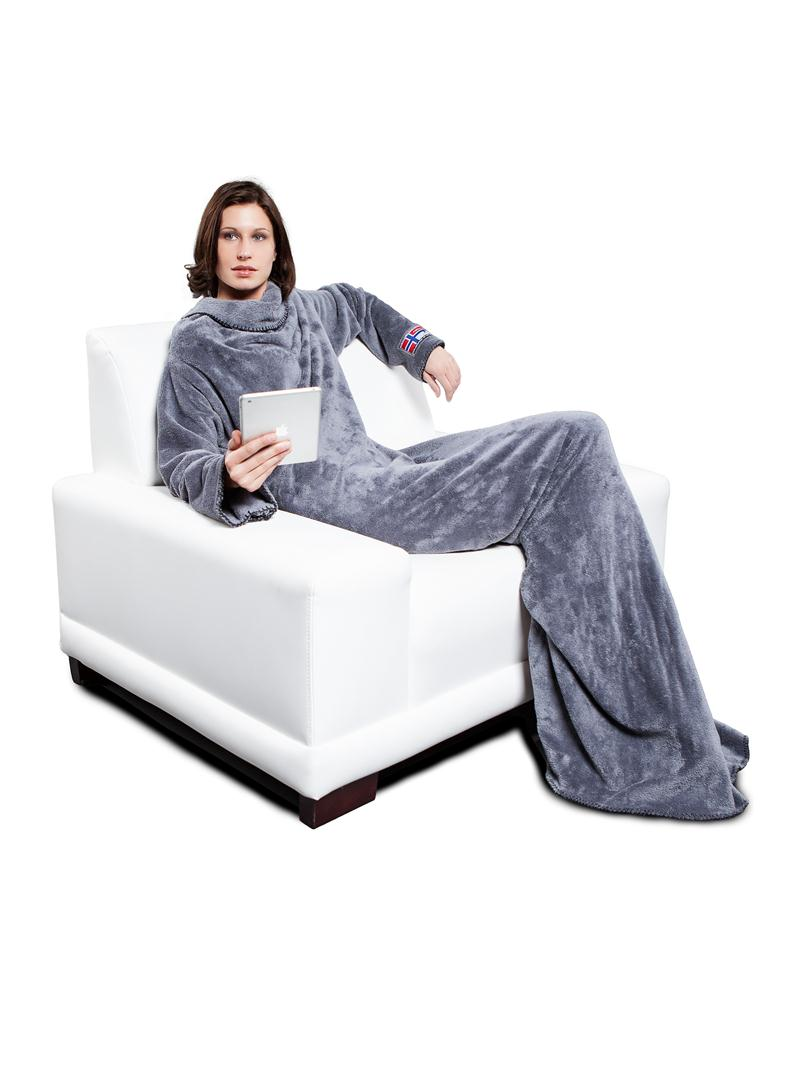 wow nebulus fleecedecke slanket mit rmel superweich grau decke q636 ebay. Black Bedroom Furniture Sets. Home Design Ideas