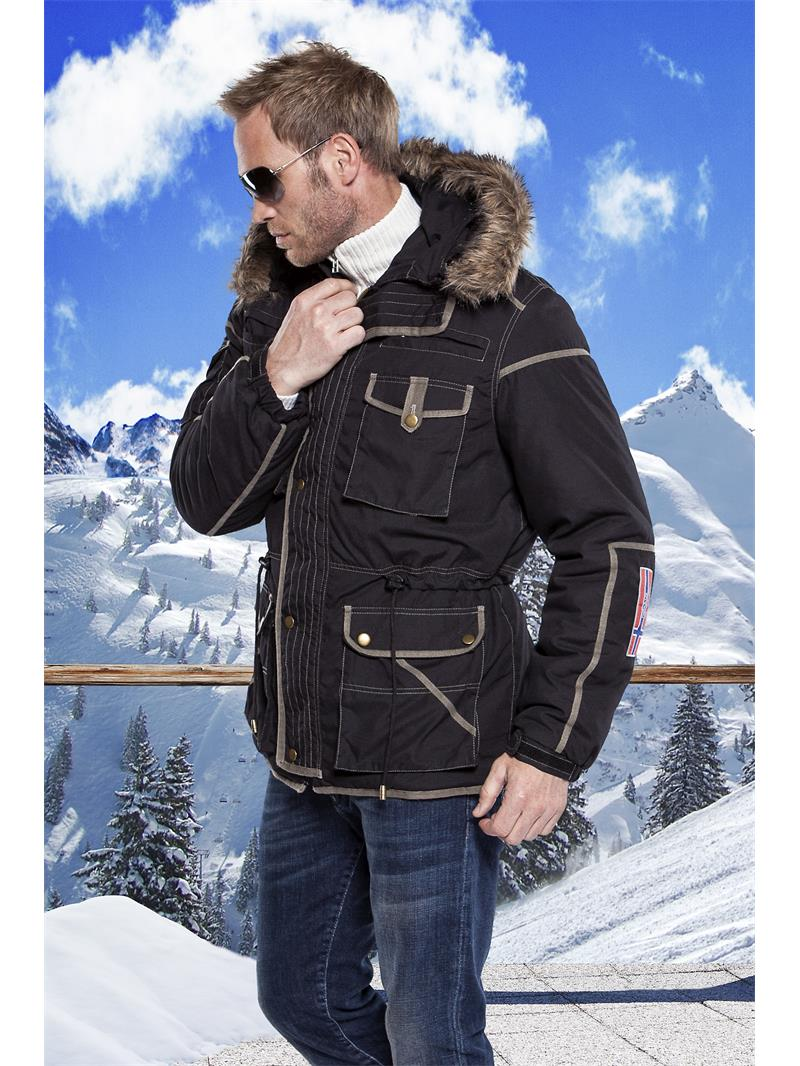 nebulus parka gstaad herren schwarz beige winterjacke jacke w043 ebay. Black Bedroom Furniture Sets. Home Design Ideas