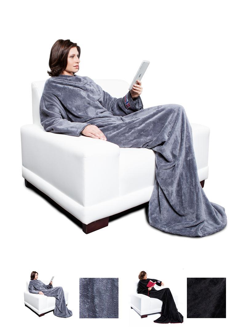 nebulus fleecedecke heaty mit rmeln grau schwarz. Black Bedroom Furniture Sets. Home Design Ideas