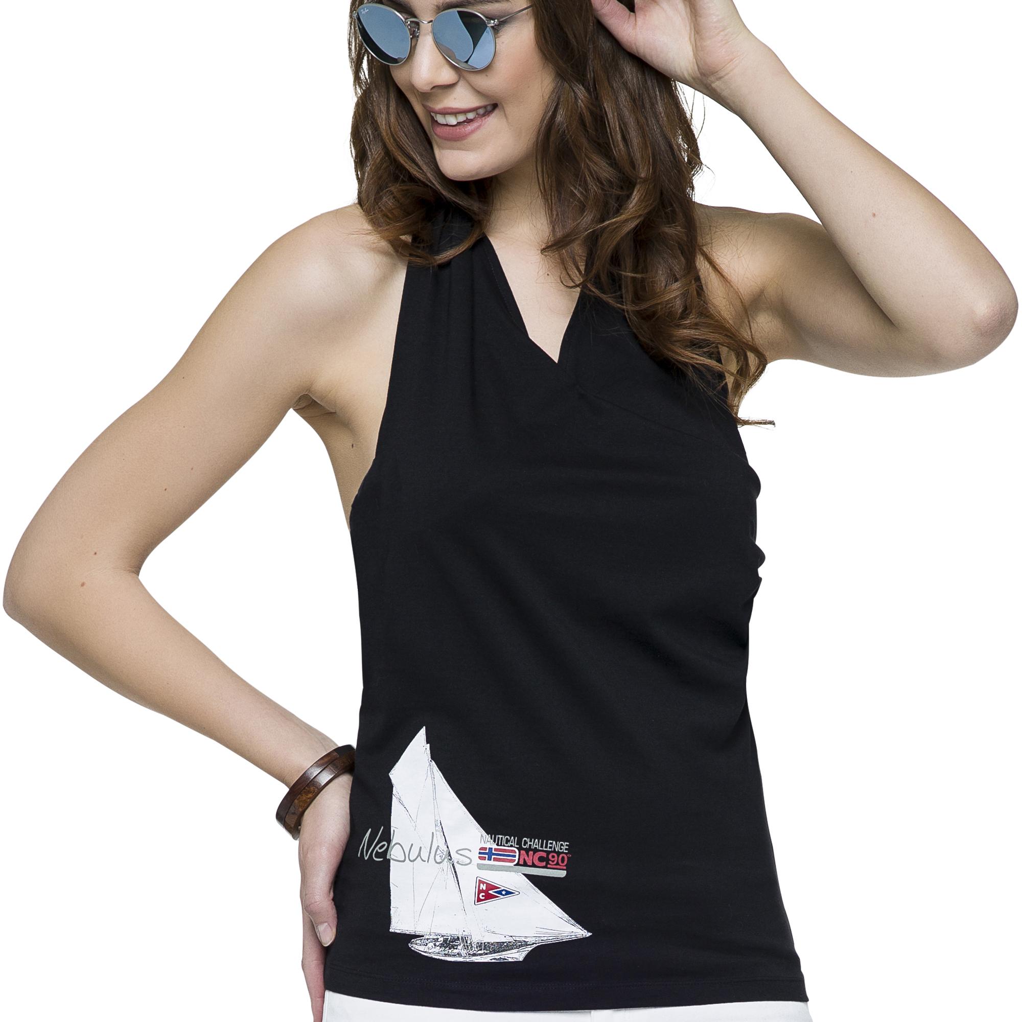 nebulus neckholder top sunny schwarz t shirt top. Black Bedroom Furniture Sets. Home Design Ideas