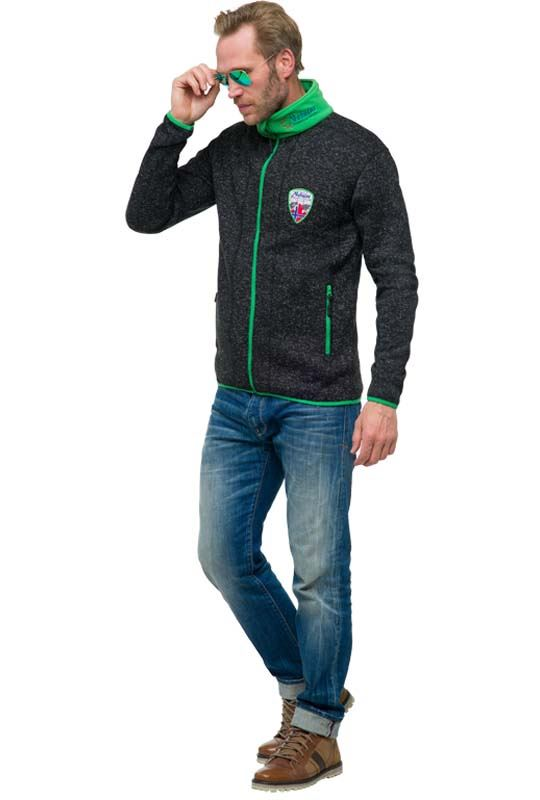 Fleece jacket VLADO Men schwarz-grün