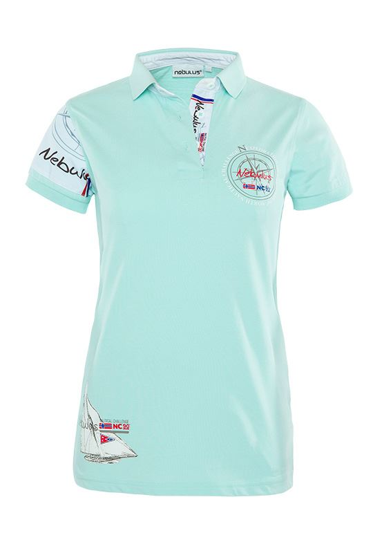 Damen Baumwoll Polo-Shirt DEEP BLUE mint