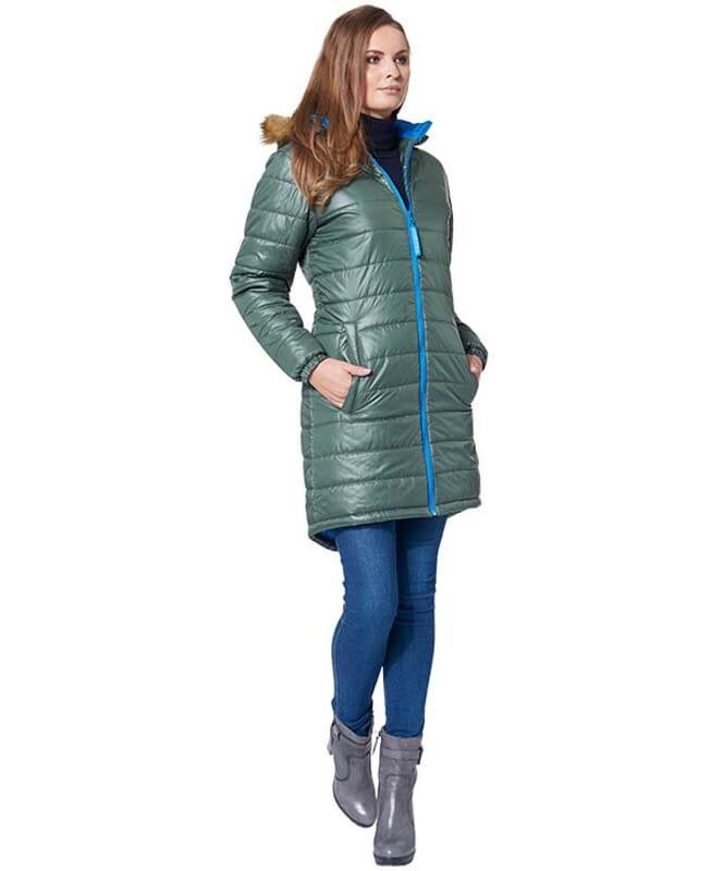 MALEXXIUS Wintermantel LUCRETIA Damen olive-blau