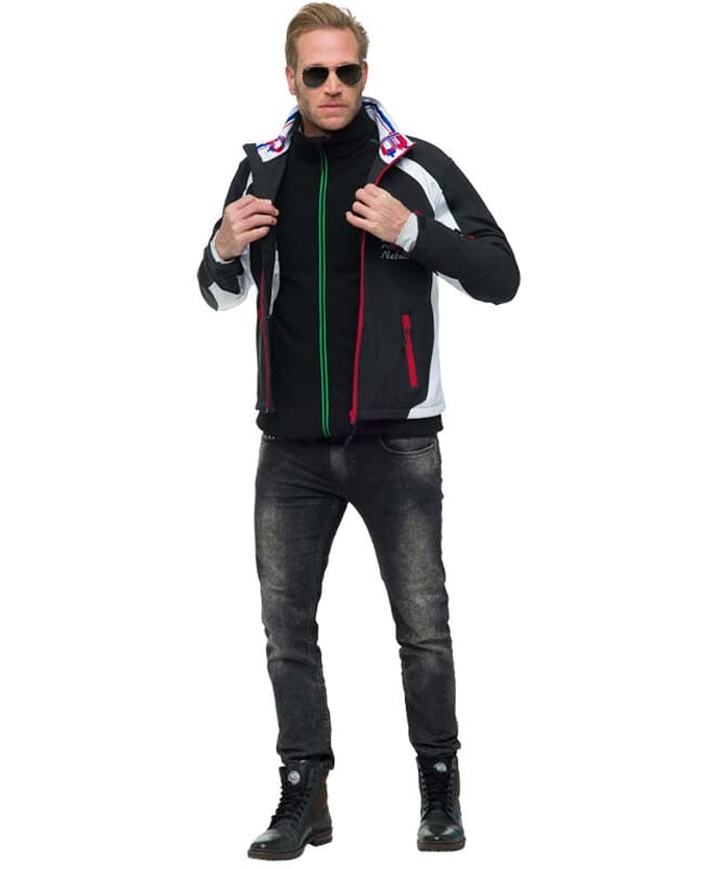 Softshell Skijacke VIGGO Herren schwarz-weiß