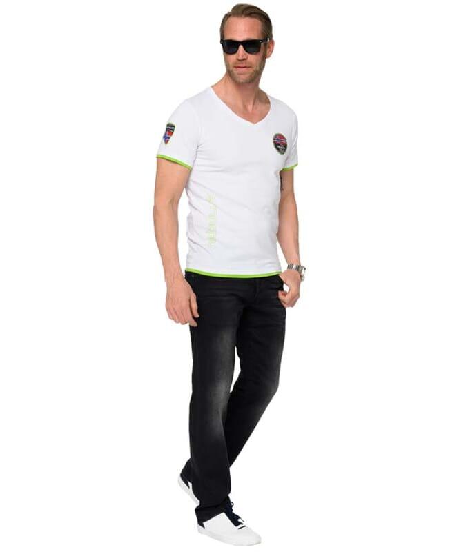 T-Shirt POWERS Herren weiß-kiwi