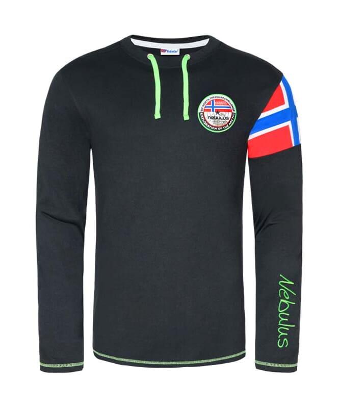 Langarmshirt FRERK Herren schwarz-grün
