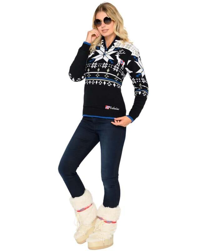 Strickpullover mit Kunst-Fell FRIA Damen schwarz-weiß