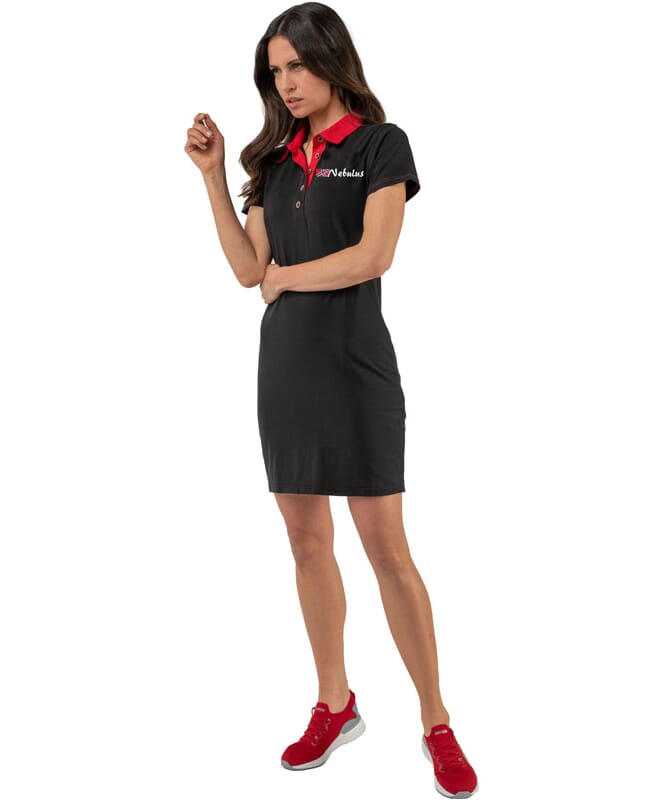 Polokleid ADELA Damen schwarz-rot
