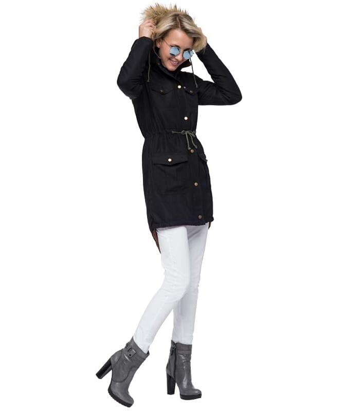 Damenparka mit Kunstfell MILANO Damen schwarz