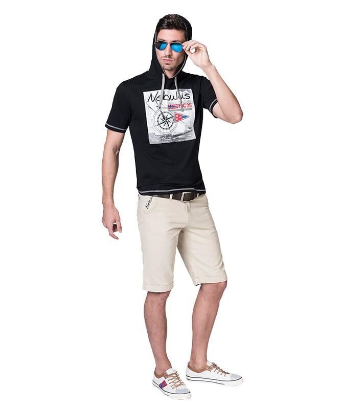 Baumwoll Hoodyshirt WAVES Herren schwarz