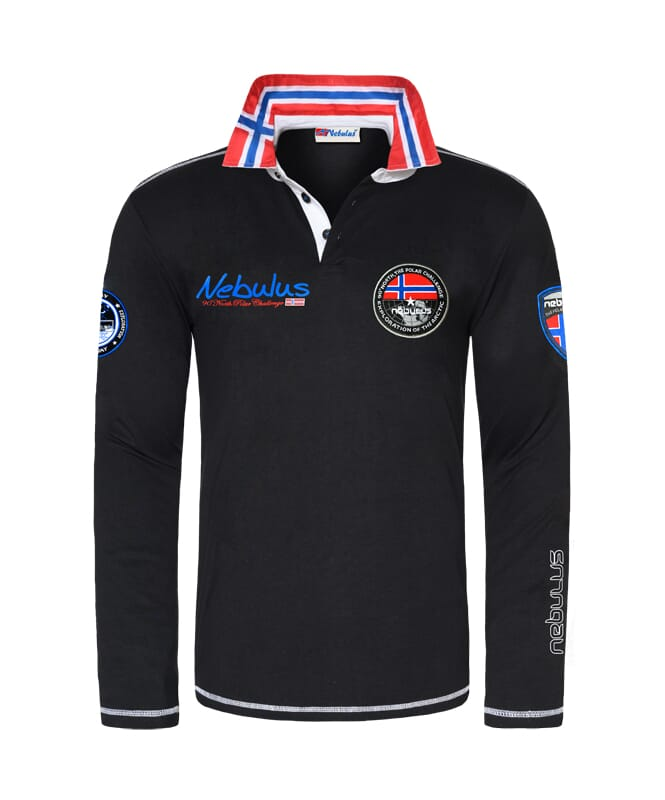 Poloshirt langarm BENTY Herren schwarz